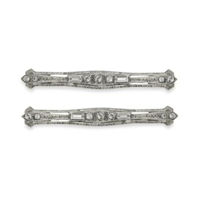 Downton Abbey® Crystal and Silver-Tone Hair Clip Fasteners