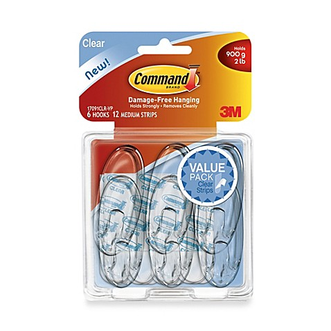 3m removable medium clear wall hooks 6 pack www bedbathandbeyond