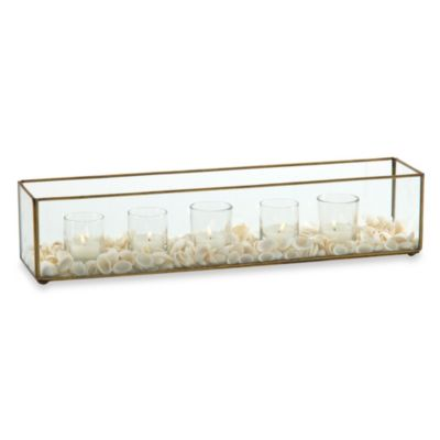 Rectangular Five Light Tealight Holder with Shells