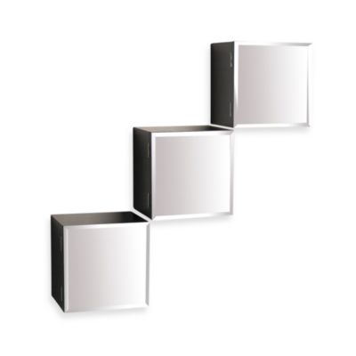 Espresso Finish Cube Shelves with Mirror Doors