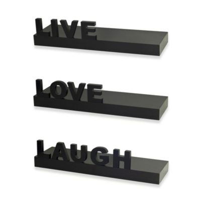 """Live"" ""Love"" ""Laugh"" Shelves in Espresso (Set of 3)"