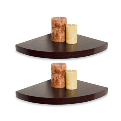Walnut Grain Finish Corner Radial Shelves (Set of 2)
