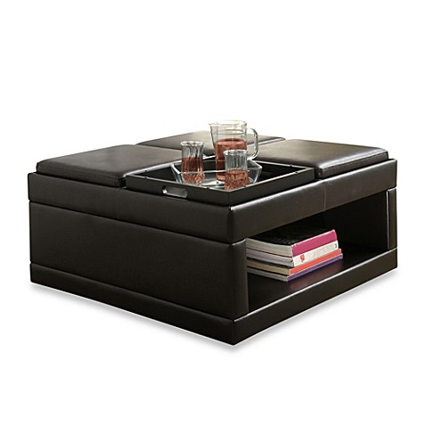 Buy Verona Home Cocktail Ottoman Table With Flip Tray From