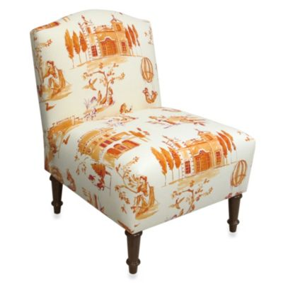 Skyline Furniture Camel Back Armless Chair in Villa Tangerine