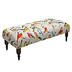 Skyline Furniture Tufted Bench in Bird Watcher Summer