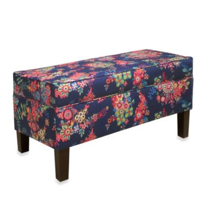 Skyline Furniture Storage Bench in Moona Navy