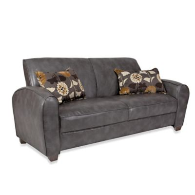 angelo:HOME Gordon Renu Leather Sofa in Charcoal Gray