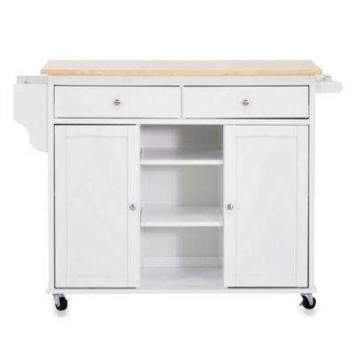 Baxton Studio Meryland Modern Kitchen Rolling Island Cart in White