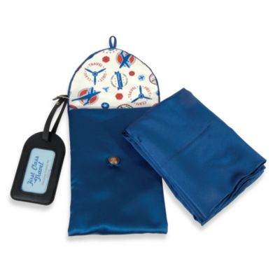 First Class Travel Satin Traveler Set in Blue