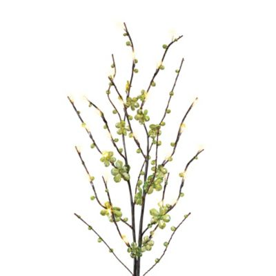 39-Inch Battery Operated Green Petal Flower LED Lighted Branches