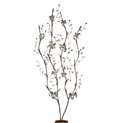 39-Inch Battery Operated Clear Petal Flower LED Lighted Branches