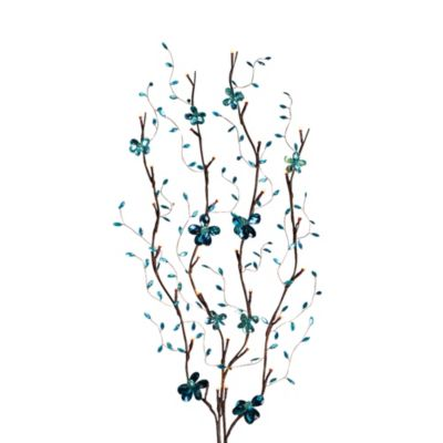 39-Inch Battery Operated Turquoise Mirror-Back LED Lighted Branches