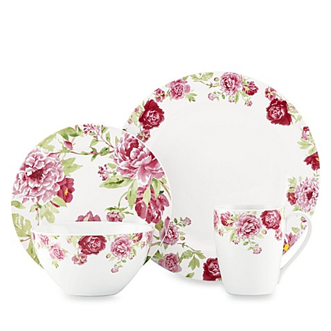 Kathy Ireland Home by Gorham Blossoming Rose 4-Piece Dinnerware Set