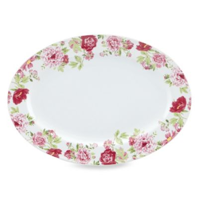 Kathy Ireland Home by Gorham Blossoming Rose Oval Platter