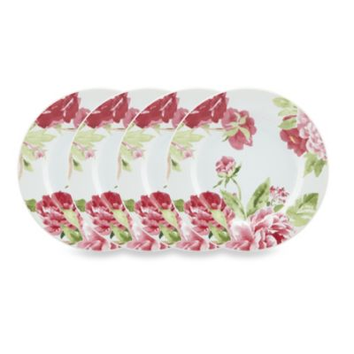 Kathy Ireland Home by Gorham Blossoming Rose 4-Piece Canape Plate Set