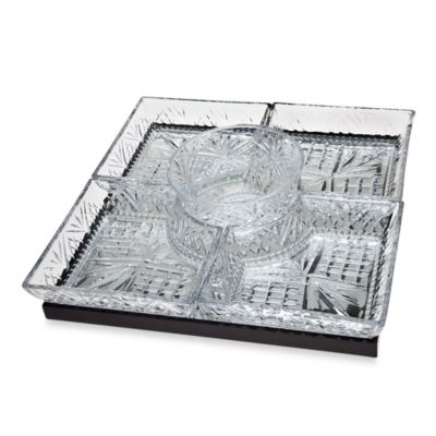 Godinger Dublin Crystal Silver Lazy Susan with 5 Dishes