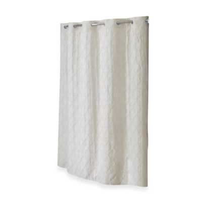 Hookless® Embroidered Diamond 71-Inch x 74-Inch Fabric Shower Curtain and Liner Set