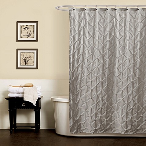 noelle pintuck shower curtains in grey bed bath beyond