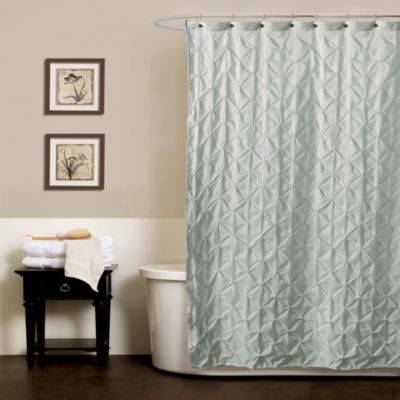 Noelle Pintuck Shower Curtains in Aqua