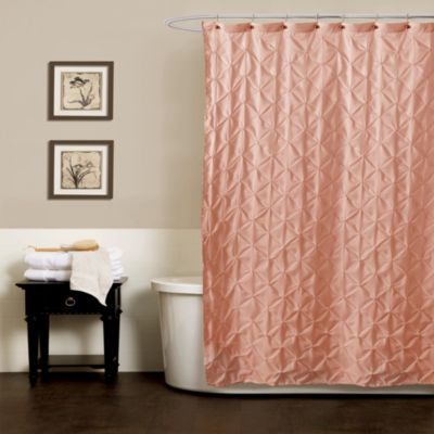 Noelle Pintuck 70-Inch x 72-Inch Shower Curtain in Peach