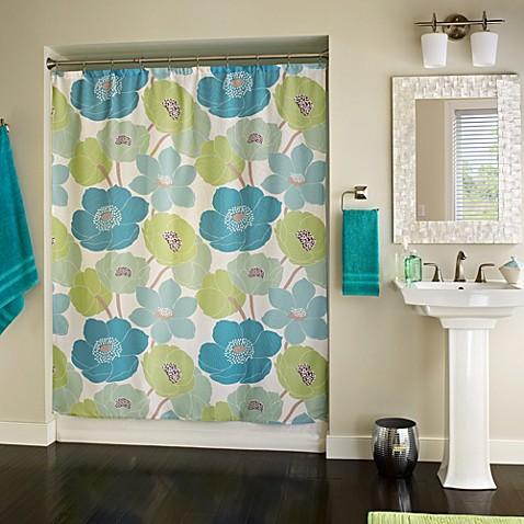 blue green shower curtain