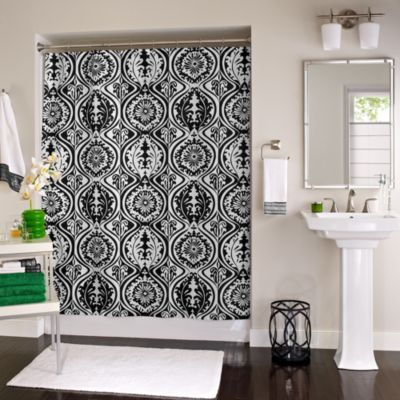 York 72-Inch x 72-Inch Shower Curtain in Black/White