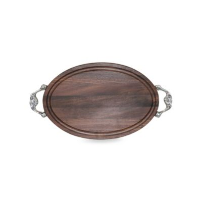 Chubbco Dark Walnut Oval Cutting Board With Handles