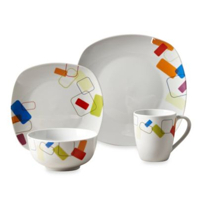 Tabletops Unlimited® Soho Square Porcelain 16-Piece Set