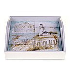 Certified International Beach Cottage 4-Tile Square 12.75-Inch Wood Tray with Handles