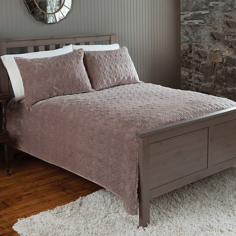 The Seasons Collection® Plush Quilt and Sham Set in Taupe