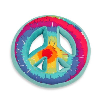 One Grace Place Terrific Tie Dye Decorative Peace Sign Pillow