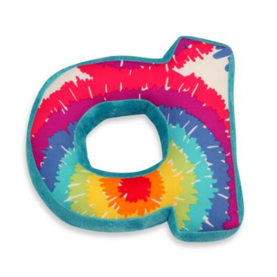 "One Grace Place Terrific Tie Dye Decorative Letter ""A"" Pillow"