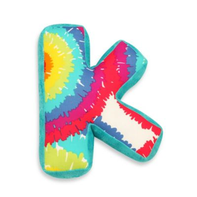 "One Grace Place Terrific Tie Dye Decorative Letter ""K"" Pillow"