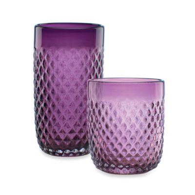 Kathy Ireland Home by Gorham Ki Coroado Amethyst 13 oz. Double Old-Fashioned Glasses (Set of 4)