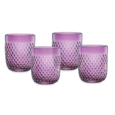 Kathy Ireland Home by Gorham Ki Coroado Amethyst 13 oz. Double Old-Fashioned Glasses (Set of 4)