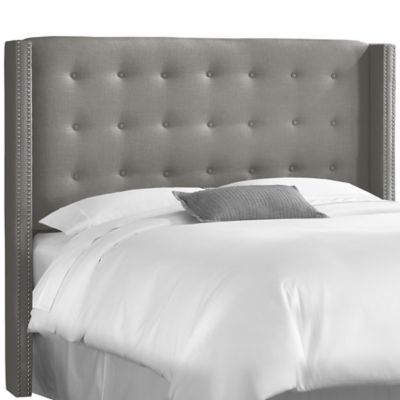 Skyline Furniture Full Nail Button Tufted Wingback Headboard in Linen Grey