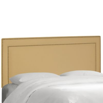 Skyline Furniture California King Nail Button Border Headboard in Velvet Buckwheat