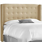 Skyline Nail Button Tufted Wingback Headboard in Linen Sandstone