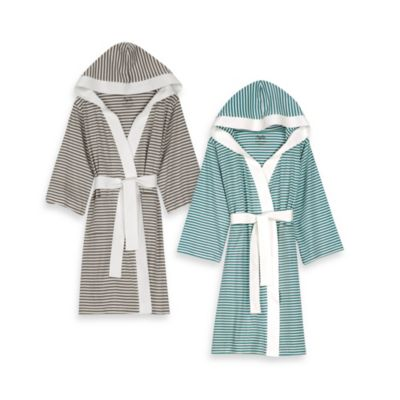 Nine Space Knee Length Striped Jersey Knit Small/Medium Bathrobe in Silver