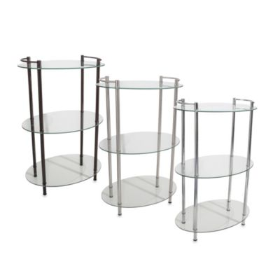 Decopolitan Oval Glass 3-Shelf Tower in Chrome