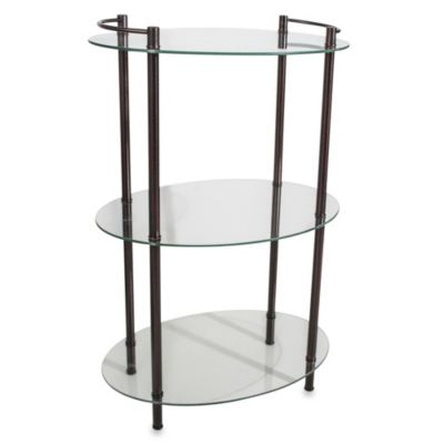 Decopolitan Oval Glass 3-Shelf Tower in Oil-Rubbed Bronze