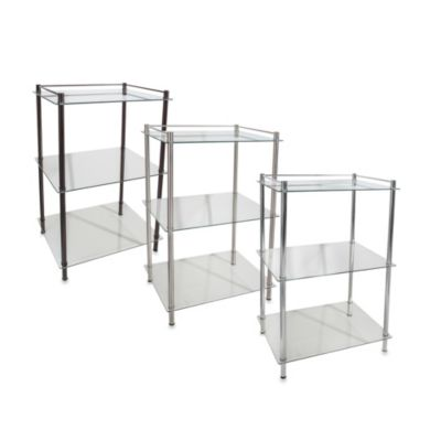 Decopolitan Rectangle Glass 3-Shelf Tower in Chrome