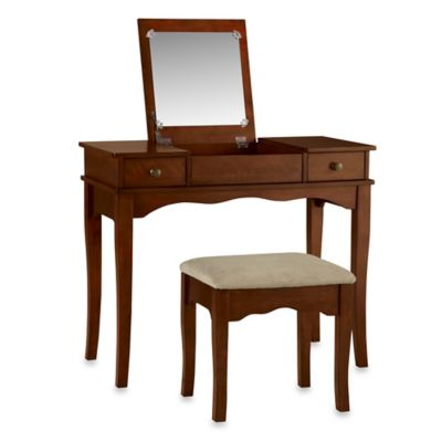 Linon Home Kendal Vanity Set in Walnut