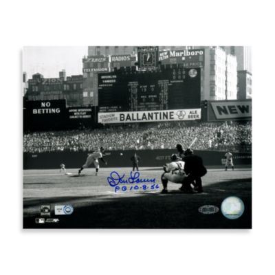 "Don Larsen Autographed ""PG 10-8-56"" First Pitch Autographed 8-Inch x 10-Inch Photograph"