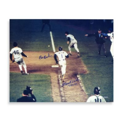 Bill Buckner and Mookie Wilson Dual Autographed 16-Inch x 20-Inch Photograph