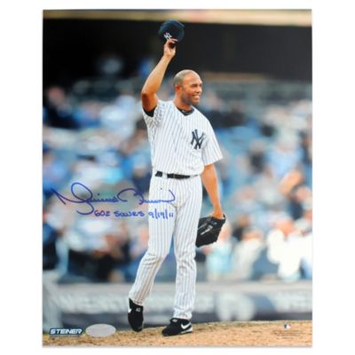 "Mariano Rivera Autographed ""602 Saves 9-19-11"" 602nd Save Tipping Hat 16-Inch x 20-Inch Photograph"