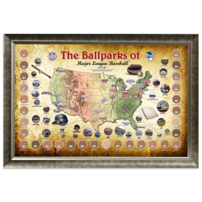 Major League Baseball Parks Map 20-Inch x 32-Inch Framed Collage with Game-Used Dirt from 30 Parks