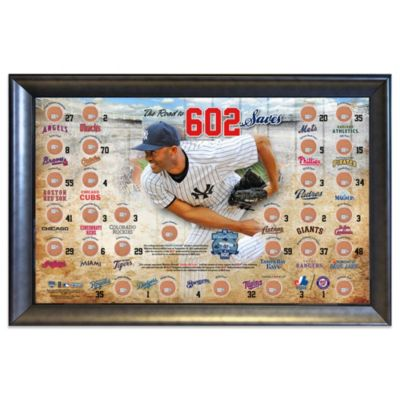 New York Yankees Mariano Rivera Road to 602 Save 20-Inch x 32-Inch Framed with Game-Used Dirt Map