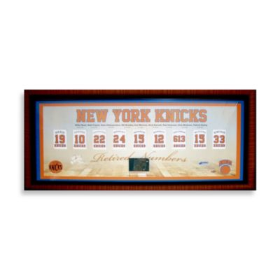 "New York Knicks Retired Numbers Framed 14"" x 32"" Collage"