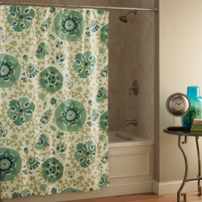 Medallians Green 70-Inch x 72-Inch Shower Curtain